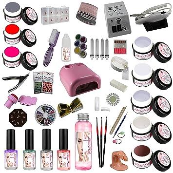 Juego de iniciación para manicura, rosa, gel UV, torno para uñas: Amazon.es: Belleza
