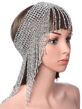 BABEYOND 1920s Beaded Cap Headpiece Roaring 20s Beaded Flapper Headpiece  Belly Dance Headband Exotic Cleopatra Headpiece 7731e6ed0f6