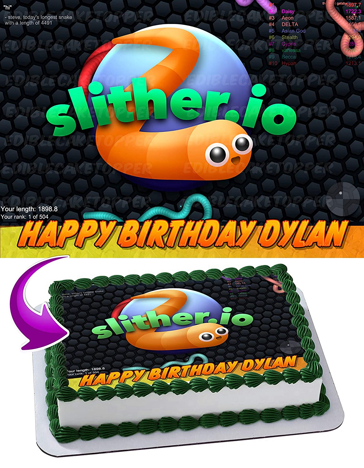 Slither io Edible Cake Image Topper Personalized Birthday 1