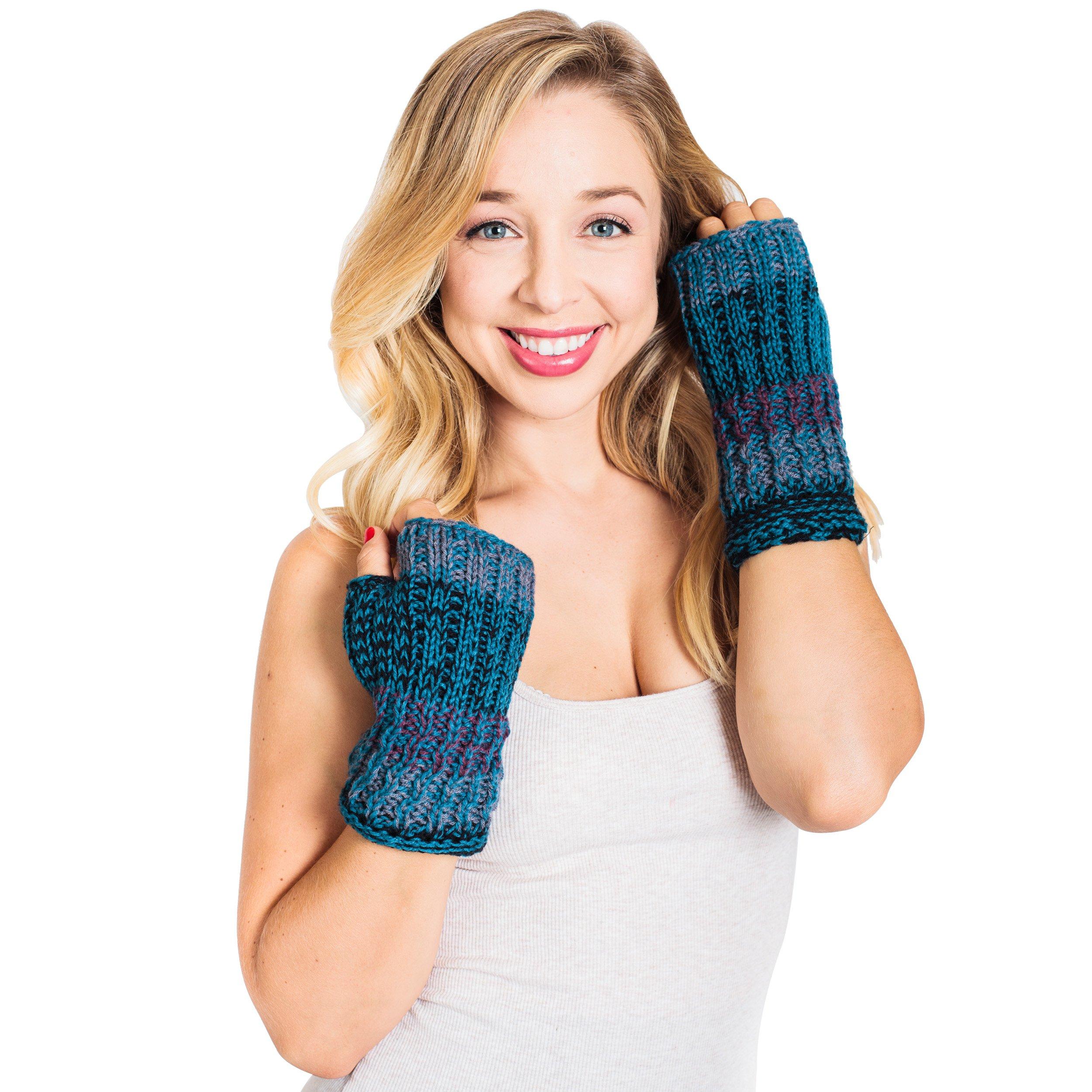 Winter Color blend Hobo Fingerless Gloves-Turquoise- One Size