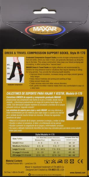 Amazon.com: MAXAR Unisex Dress & Travel Compression Support Socks (12-15 mmHg): H-170 Large, Black: Health & Personal Care