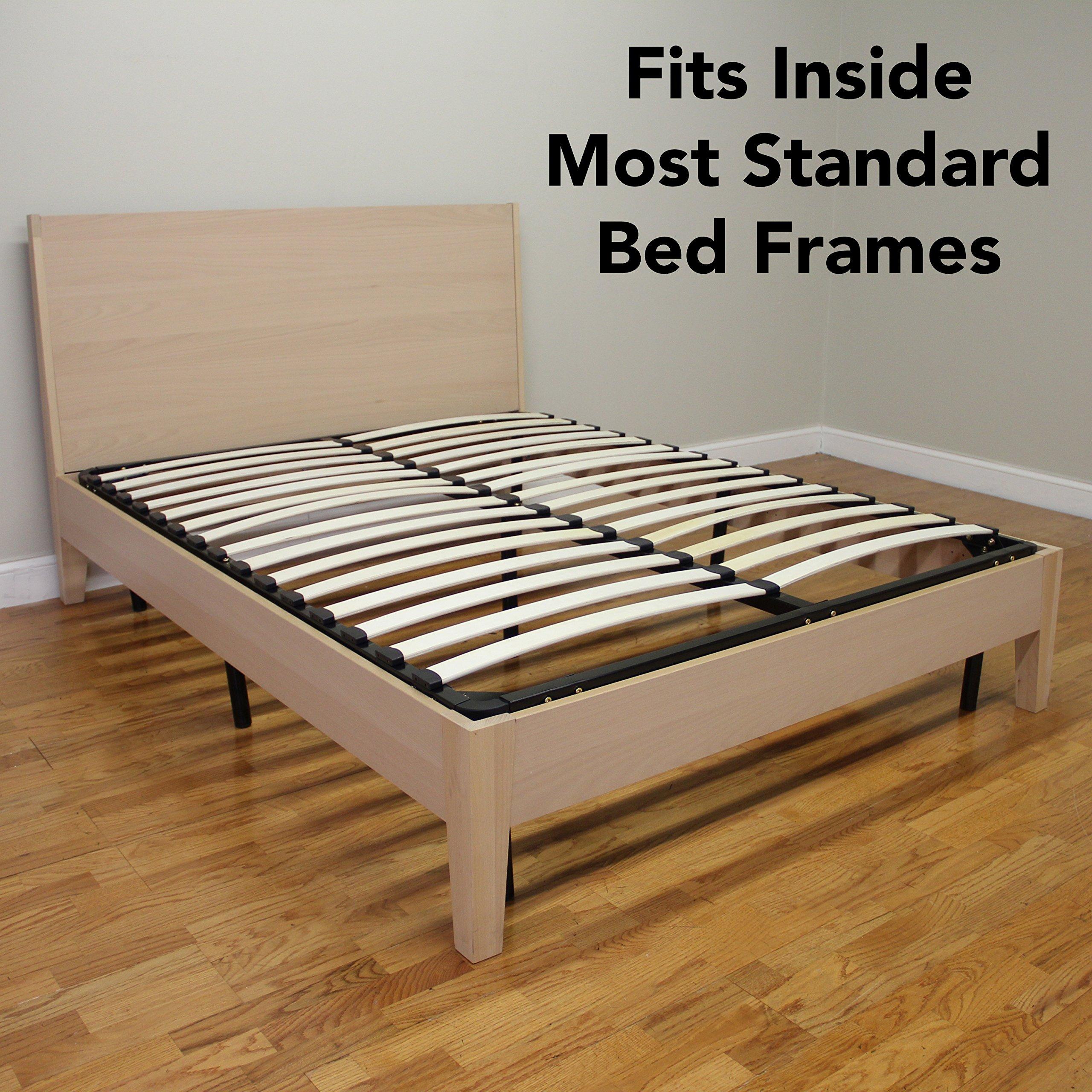 Europa Mattress Foundation Bed Frame Wood Slat and Metal Platform ...