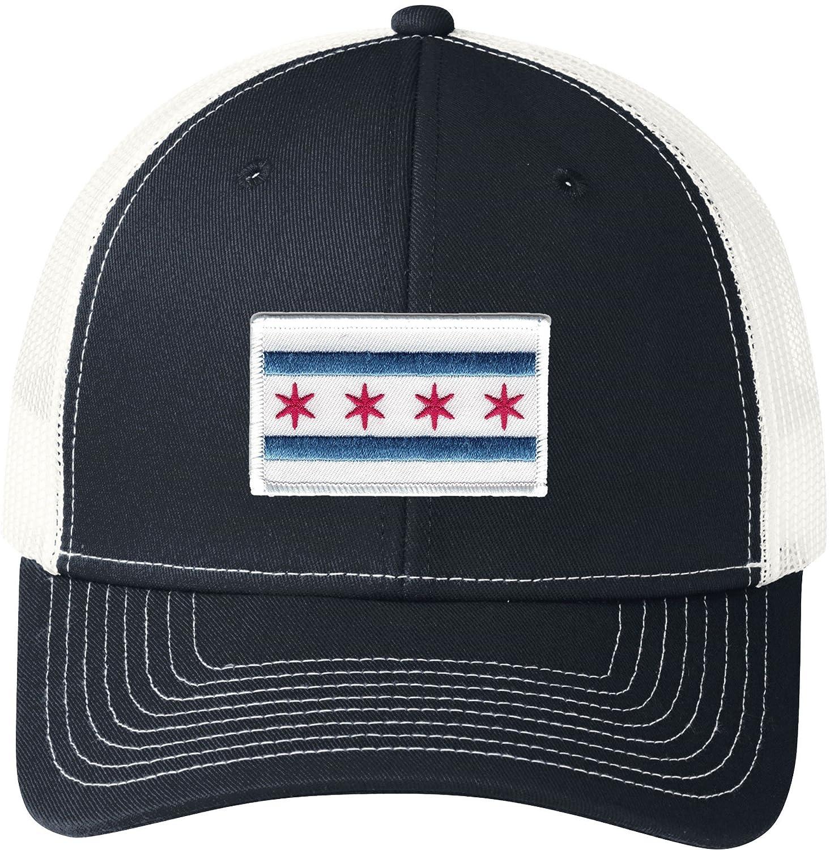 Peerless Embroidery Company Chicago Flag Snapback Trucker Mesh White Trim Navy//White C112