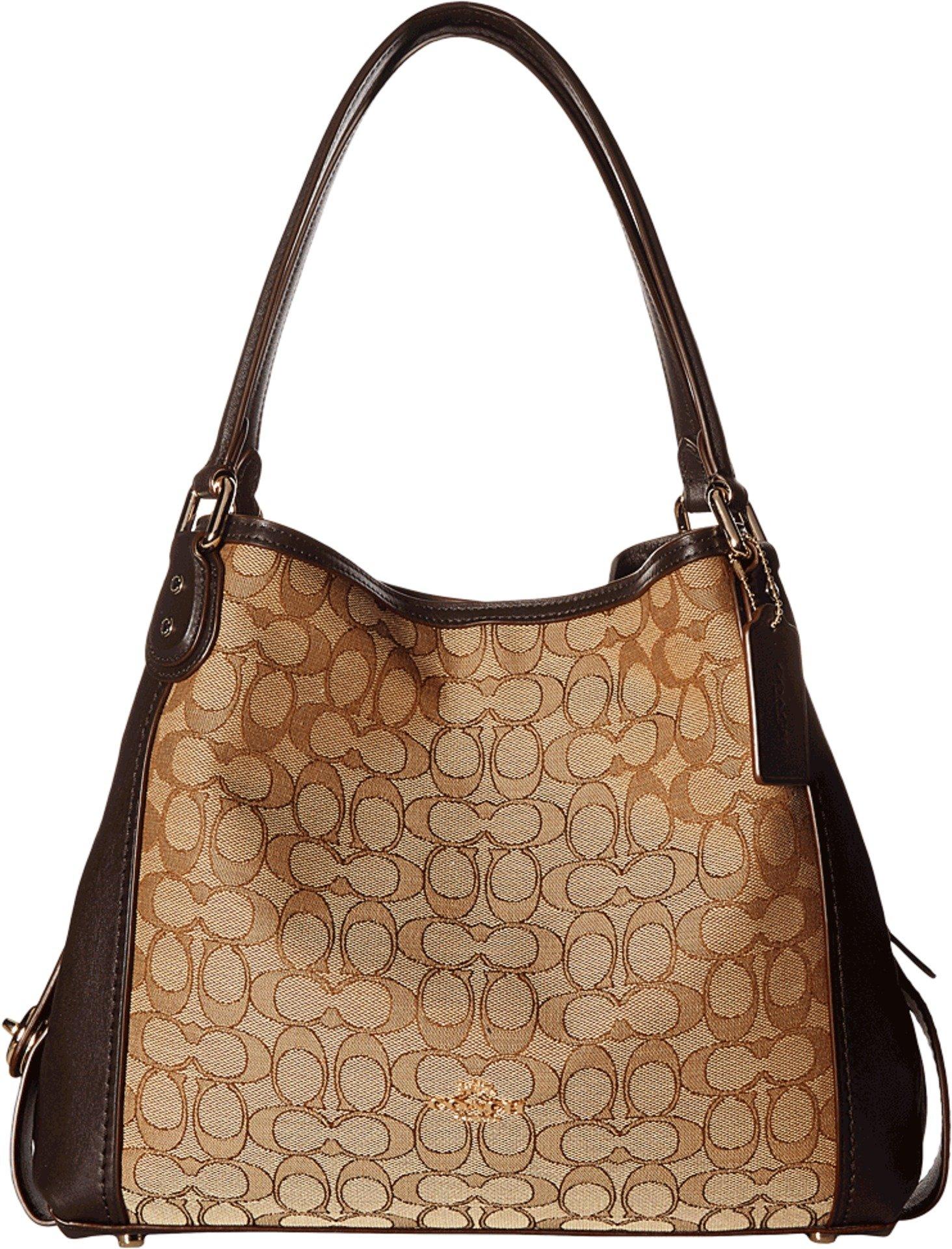 Coach Women's Edie 31 Signature Shoulder Bag, Light Gold, Khaki, Brown, OS