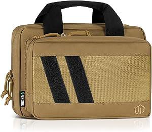 Savior Equipment Specialist Series Tactical Double Handgun Firearm Case Discreet Pistol Bag, Lockable Compartment, Additional Magazine Storage Slots