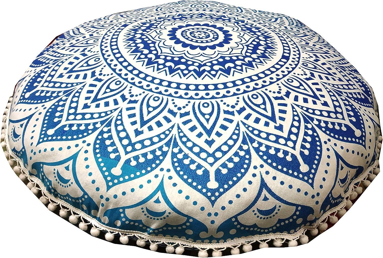 Indian Craft Castle 32 Mandala Barmeri Large Floor Pillow Cover Cushion Meditation Seating Ottoman Throw Cover Hippie Decorative Zipped Bohemian Pouf Ottoman Poufs Blue Ombre Pom Pom Pillow Cases