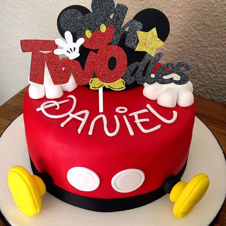 Magnificent Amazon Com Glitter Twodles Cake Topper Mickey Birthday Cake Funny Birthday Cards Online Alyptdamsfinfo