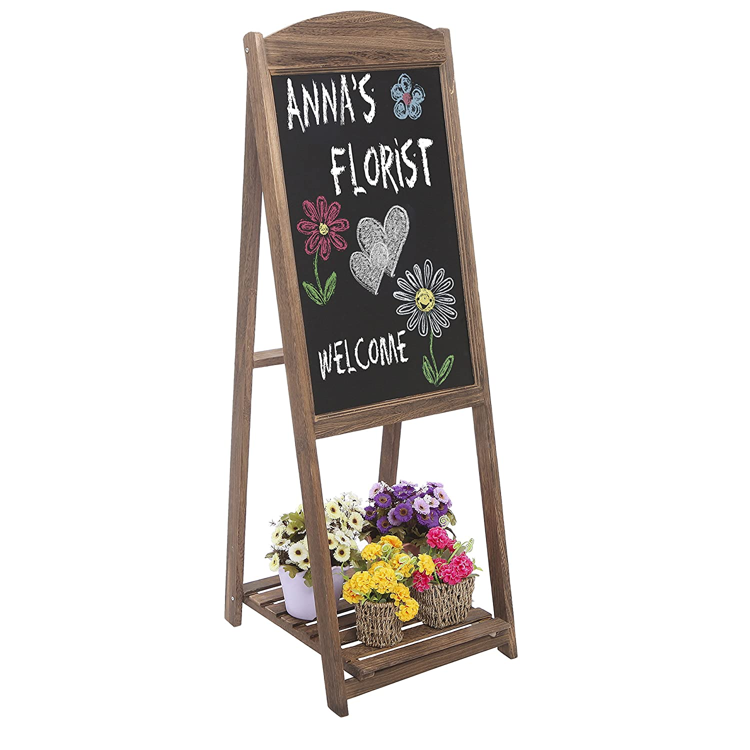 MyGift Rustic Wood A-Frame Easel Chalkboard, Erasable Memo Board w/Shelf, Brown TB-HOM0897BRN