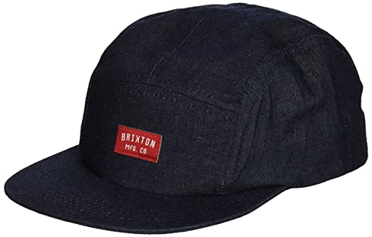 059a14b1e65cd best price brixton mens hendrick 5 panel adjustable leather strap cap  indigo one size 63d41 095f5