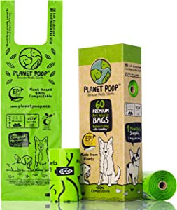 Compostable Dog Poop Bag, Poop Bags for Dogs, Extra-Long with Handles. Plant-Based Unscented Thick Leak-Proof Pet Waste Bag Refills. Highest ASTM D6400. Pet Supplies Support Doggy Rescue