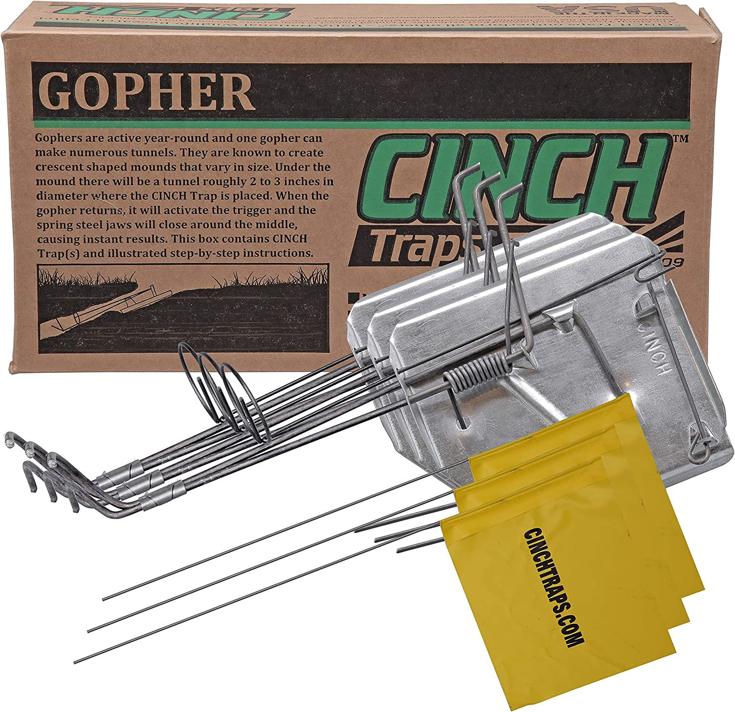 Cinch Gopher Trap with Tunnel Marking Flag (Small) Heavy-Duty, Reusable Rodent Trapping System | Lawn, Garden, and Outdoor Use | (Pack of 3)