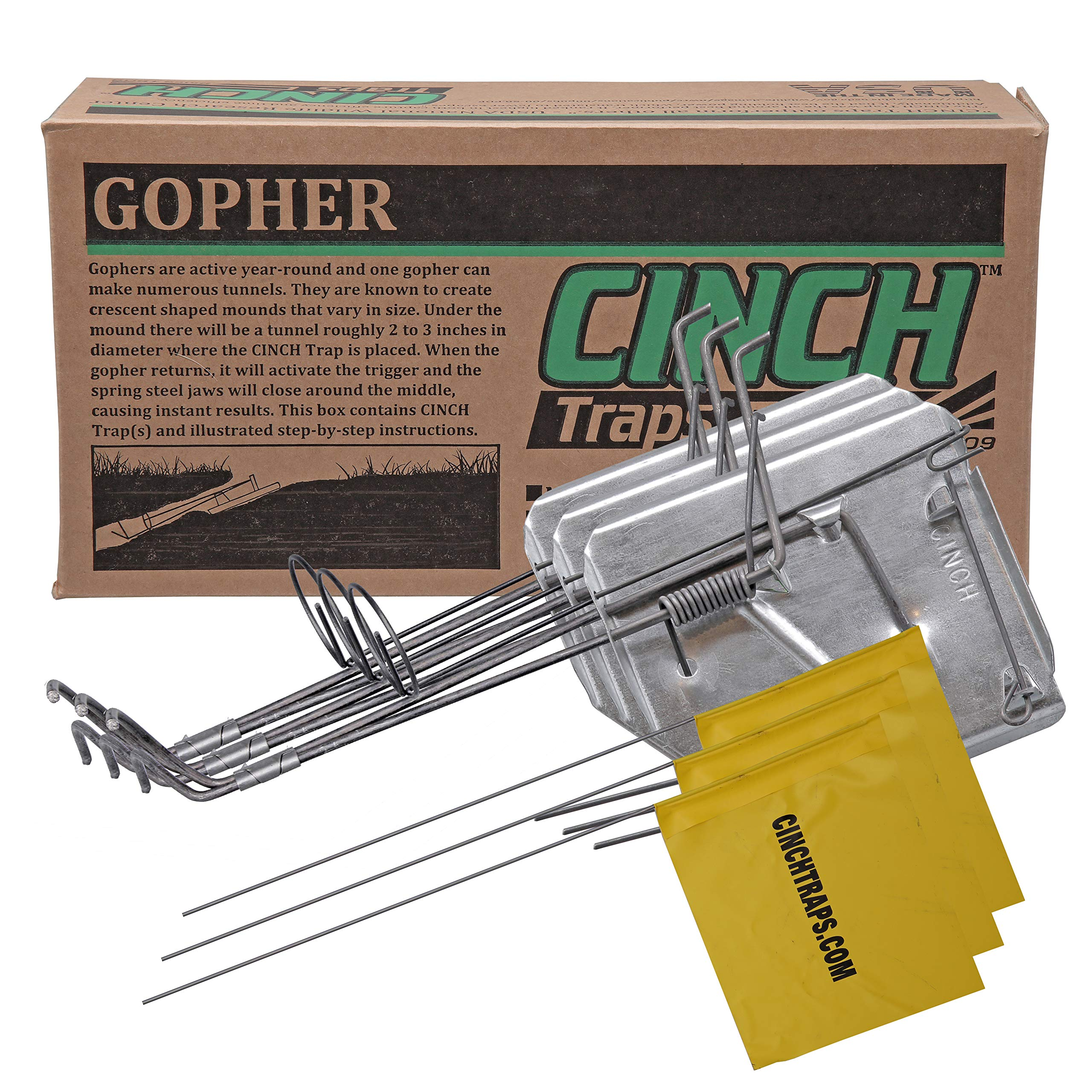 Cinch Traps-Medium Gopher Trap Kit: 3 Gopher Traps with Tunnel Marking Flags and Instructions- Made in America by CINCH TRAPS SINCE 1909