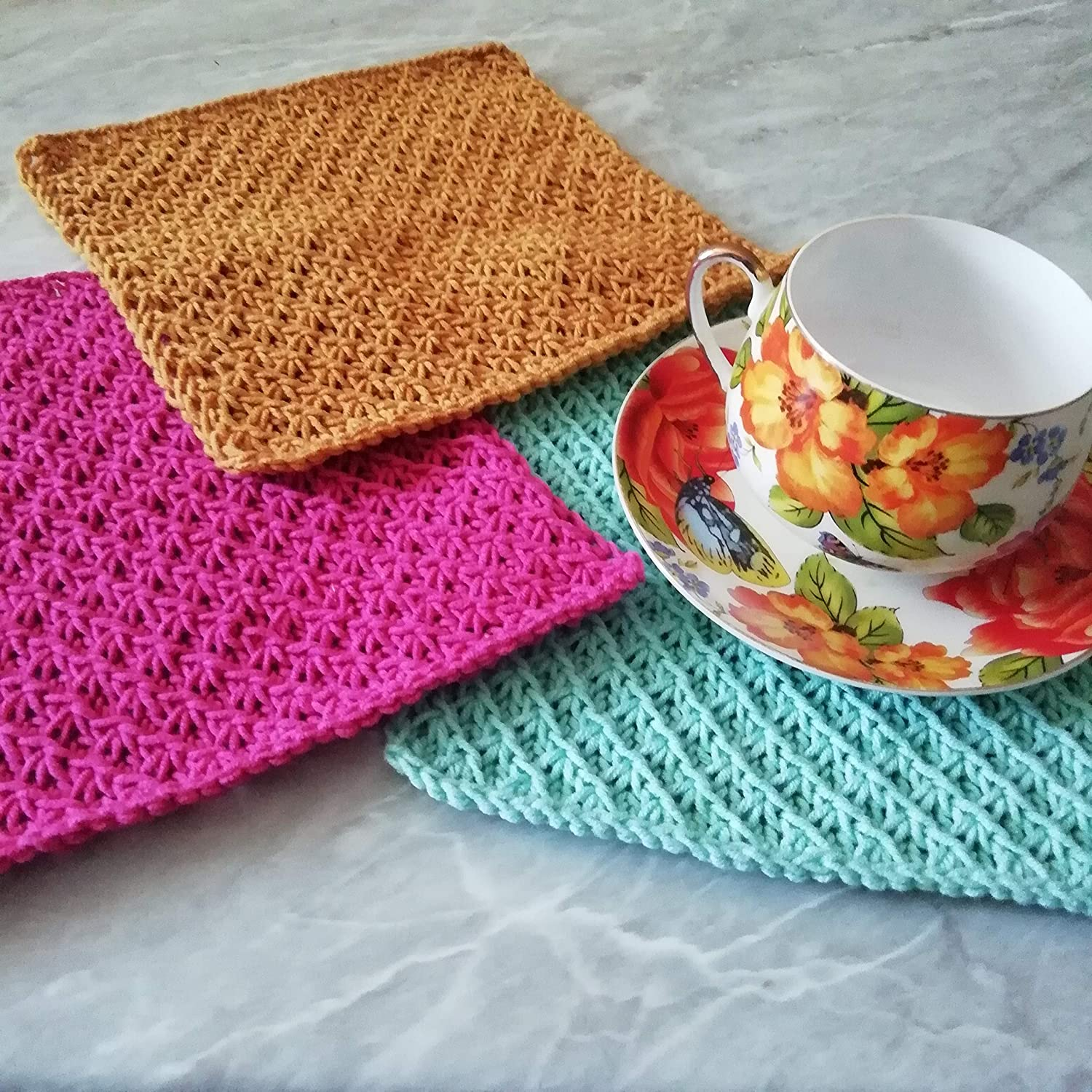 Set 3 Dish Cloths Towels Hand Knitted Cotton Square Reusable Cleaning Supplies Craft Tools Zero Waste Handmade