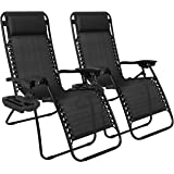 Best Choice Products Set of 2 Adjustable Zero Gravity Lounge Chair Recliners for Patio, Pool w/Cup Holder Trays, Pillows - Black