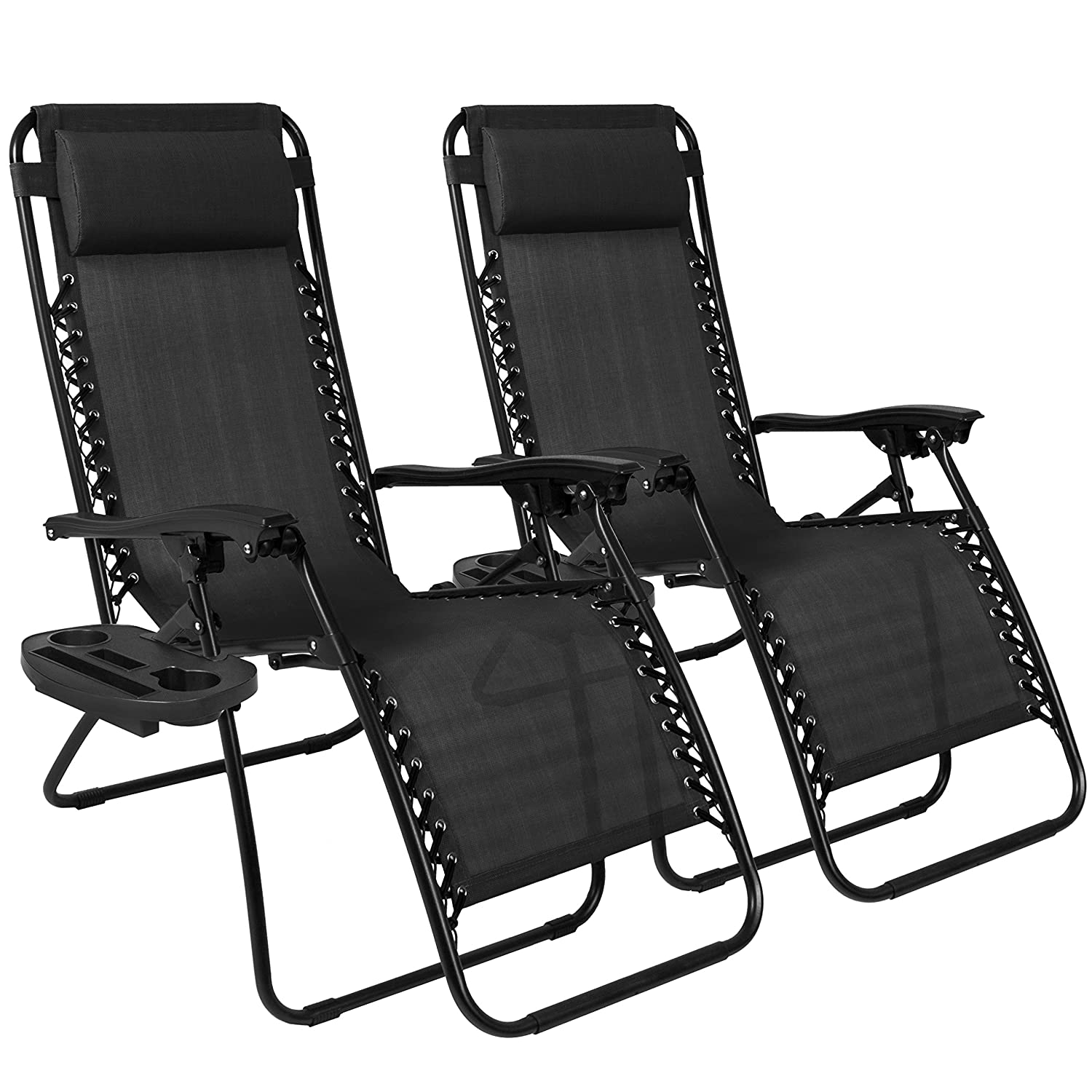Amazon.com Best Choice Products Set of 2 Adjustable Zero Gravity Lounge Chair Recliners for Patio Pool w/Cup Holders - Black Kitchen u0026 Dining  sc 1 st  Amazon.com & Amazon.com: Best Choice Products Set of 2 Adjustable Zero Gravity ...