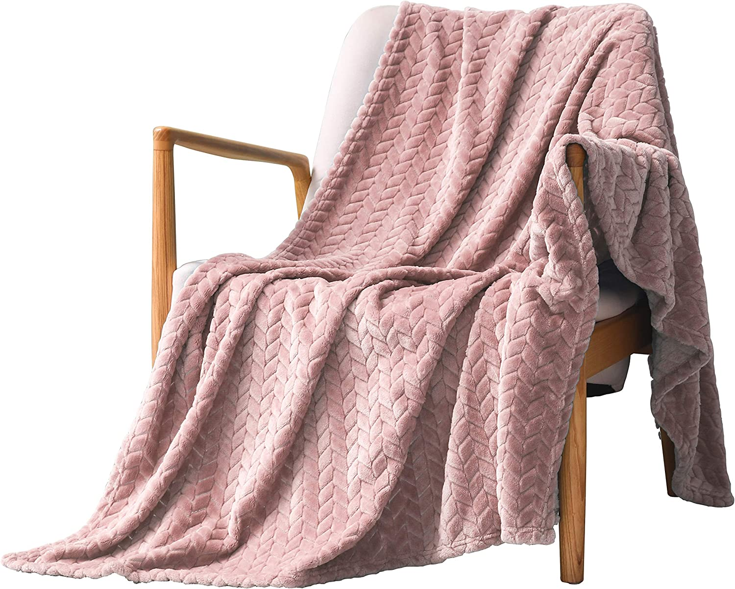 """Exclusivo Mezcla Large Flannel Fleece Throw Blanket, Jacquard Weave Leaves Pattern (50"""" x 70"""", Pink) - Soft, Warm, Lightweight and Decorative"""