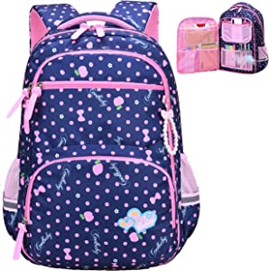 Water Resistant Girls Backpack for Primary Elementary School Large Kids Bookbag Laptop Bag (Large, Style 1- Blue)