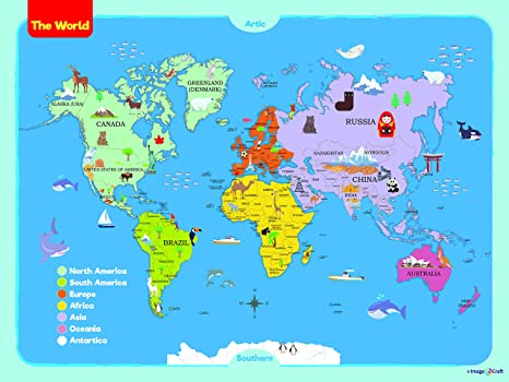 Amazon world map poster for kids 36 x 48 inch by imagencraft world map poster for kids 36 x 48 inch by imagencraft with colorful design and images gumiabroncs Images