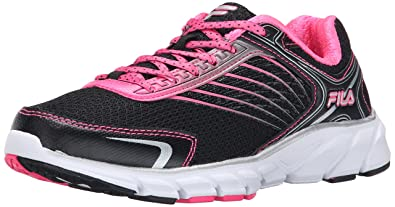 Fila Women's Memory Maranello 2 Running Shoe, Black/Knock Out Pink/Dark  Silver