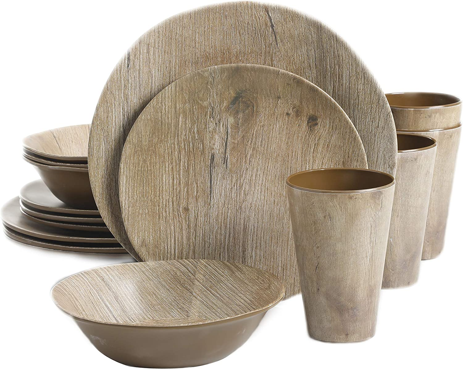Gibson Home Woodlands Round Melamine Dinnerware Set, Service for Four (16pcs), Wood