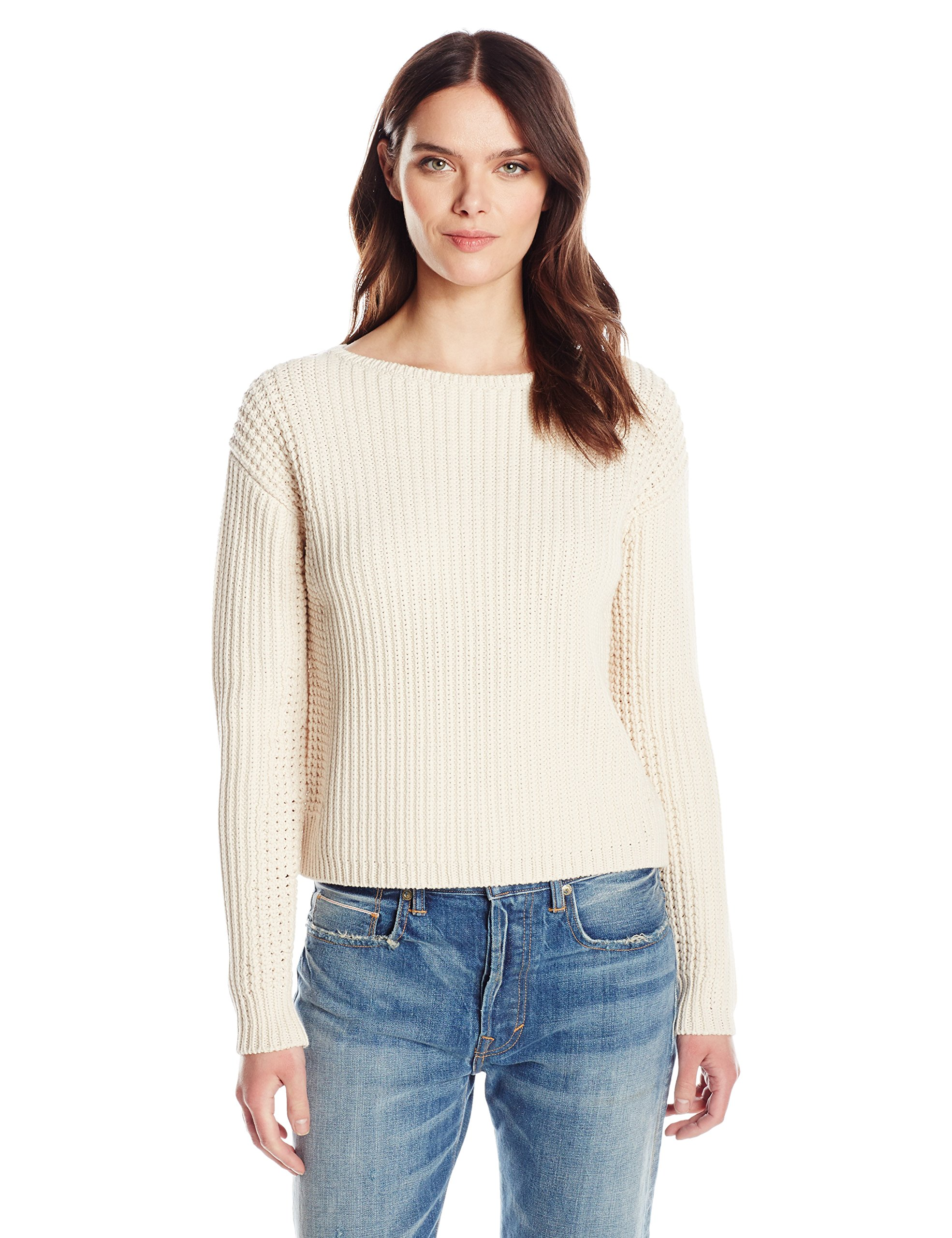 Vince Women's Waffle Stitch Pullover, Shell, S