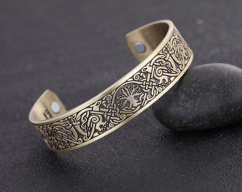 Viking Tree of Life Hugin Munin Raven Magnetic Barcelet Celtic Knot Bangle