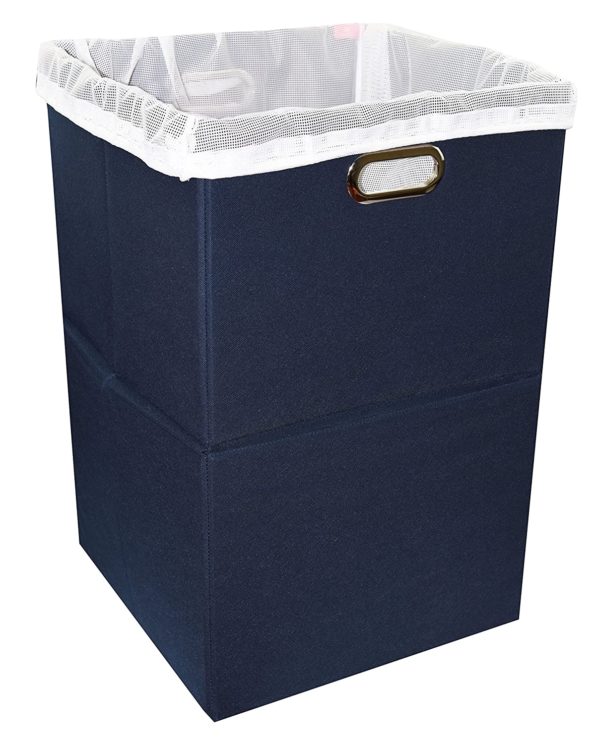 Premium Foldable Large Laundry Hamper with Laundry Bag - Durable Non-Woven Fabric, Anti-Mold Plastic Board, Extra-Large Size, Space-Saving & Compact Clothes Basket with Metal Handles (Navy Blue)
