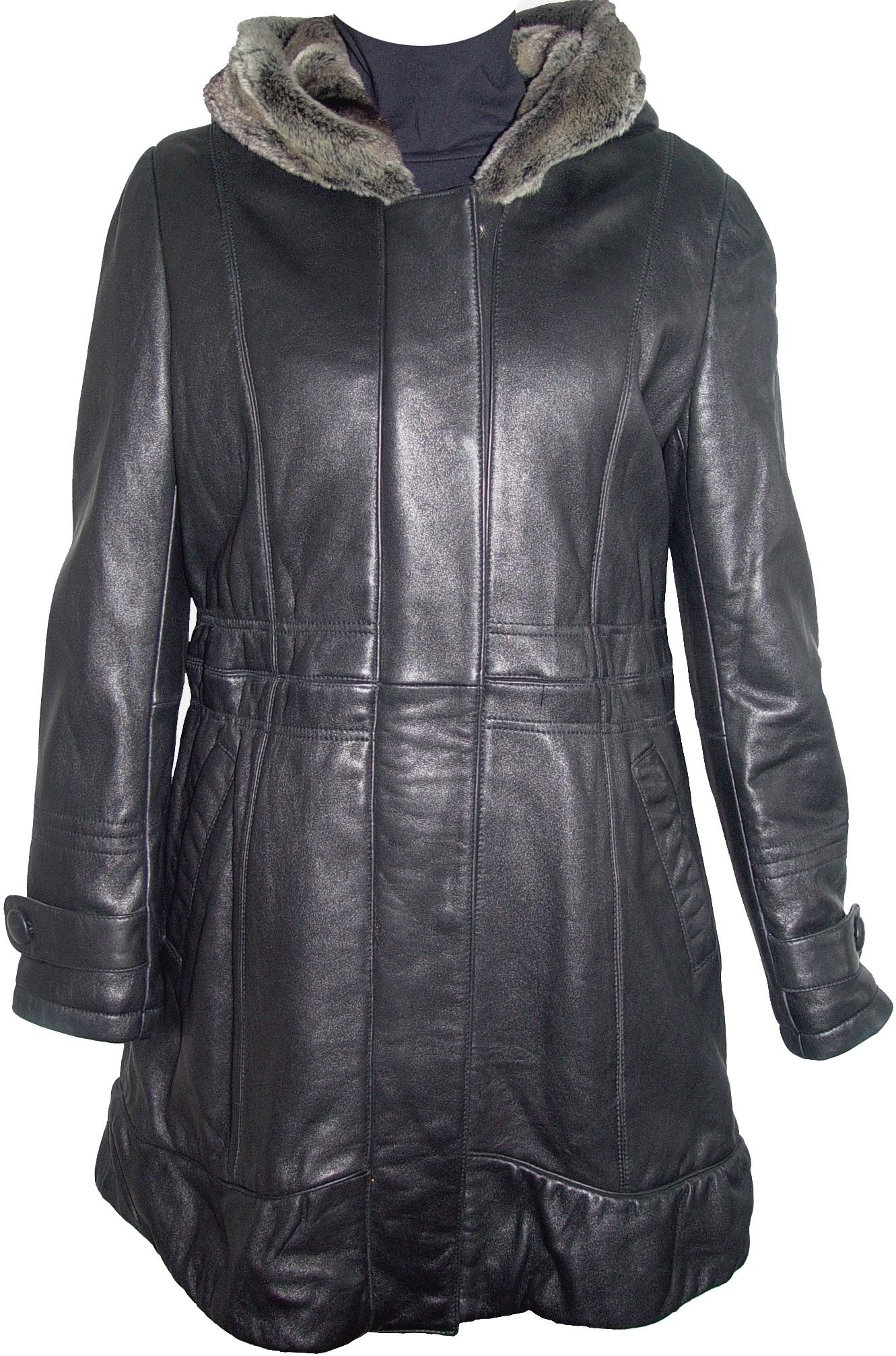 Johnny 5000 Leather Coat With Hood Womens The Parka Fake Fur Soft Lamb