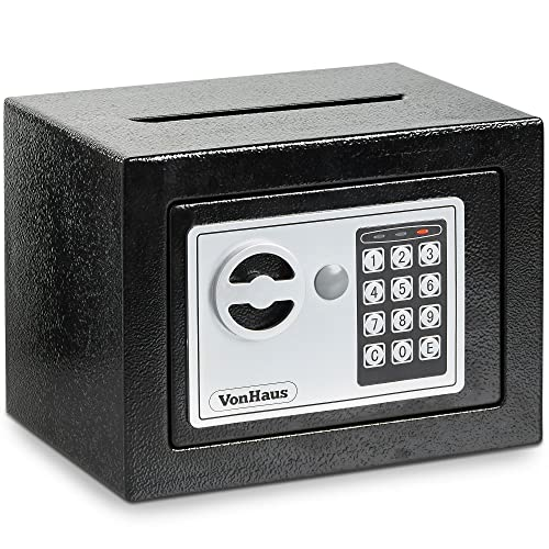VonHaus Home Mini Safe Box with Key & Electronic Keypad | 2.85KG Solid Steel with Posting Slot