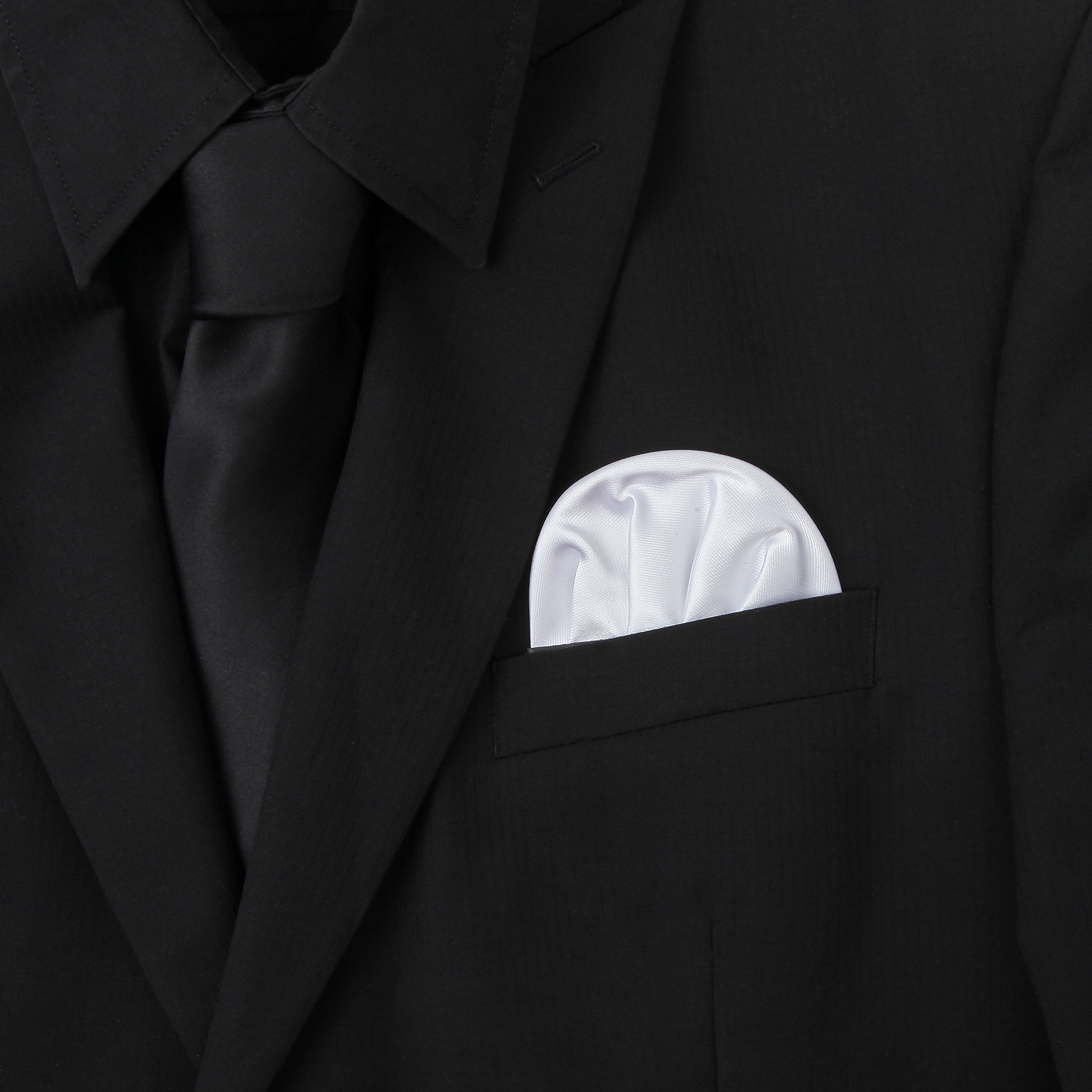 3-Pk White Pocket Square Set Pre Folded, Pesko, Crown and Puff Folds by Puentes Denver (Image #2)