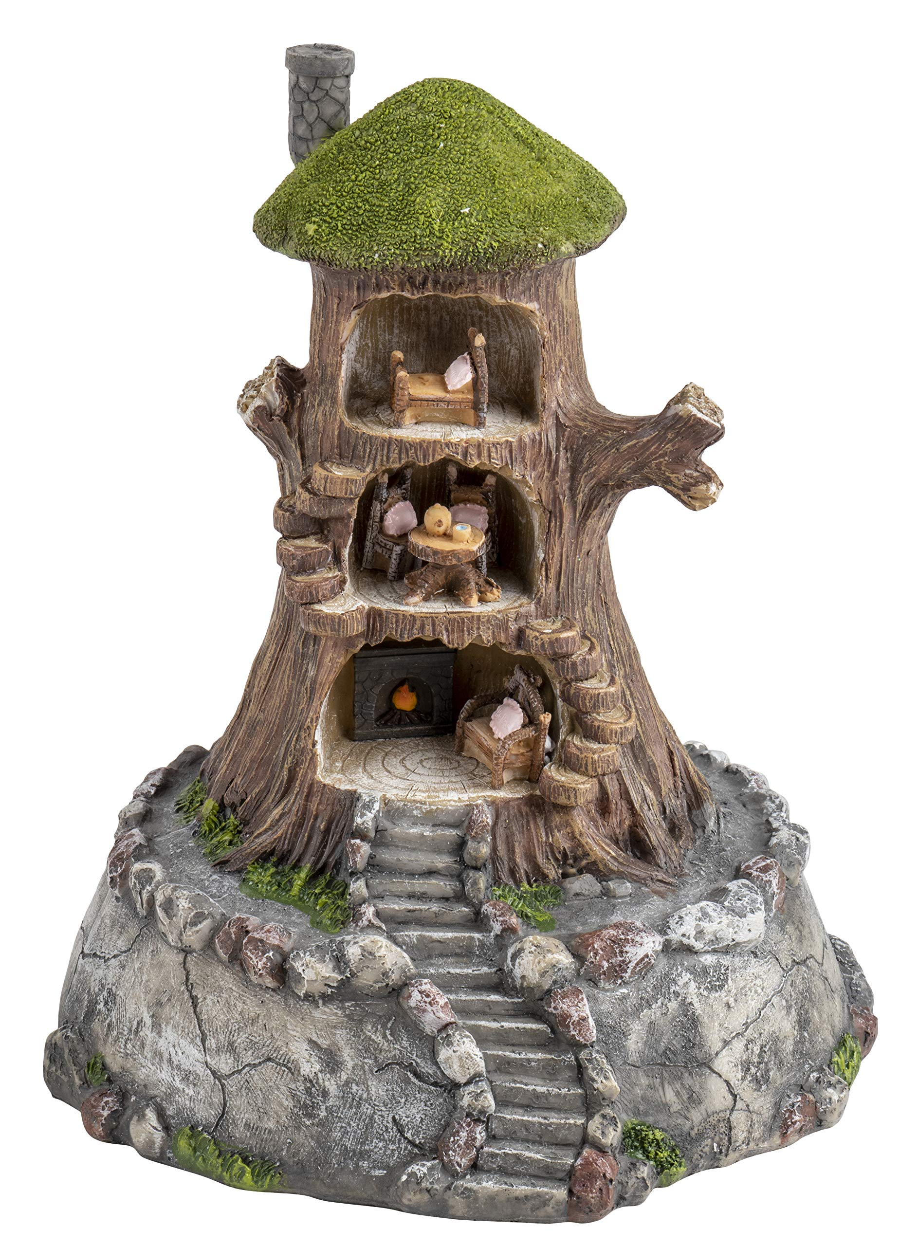 Juvale Fairy Tree House - Fairy Gnome Garden Decorative Figurine Accessory, Polyresin, Indoor Outdoor Decoration, 7.8 x 9.5 Inches
