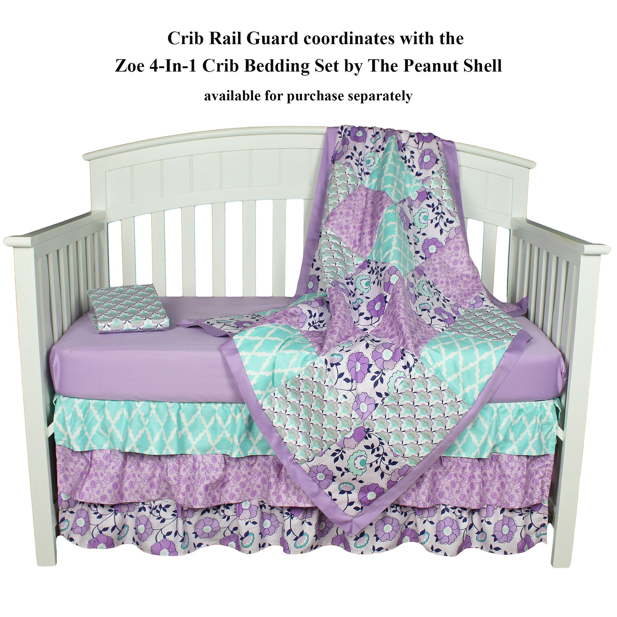 Zoe Purple Floral Crib Rail Guard by The Peanut Shell by The Peanut Shell (Image #2)