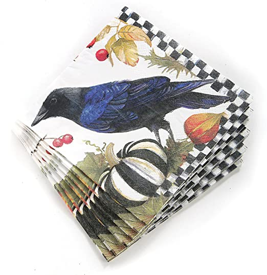 MacKenzie-Childs Christmas Paper Guest Napkins Holly /& Berry Courtly Check