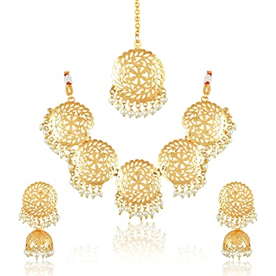 c86b41c392 Buy Amaal Jewellery Gold Kundan Pearl Traditional Maang Tikka Necklace Jewellery  Sets with Earrings for Women & Girls-JSA078 Online at Low Prices in India  ...
