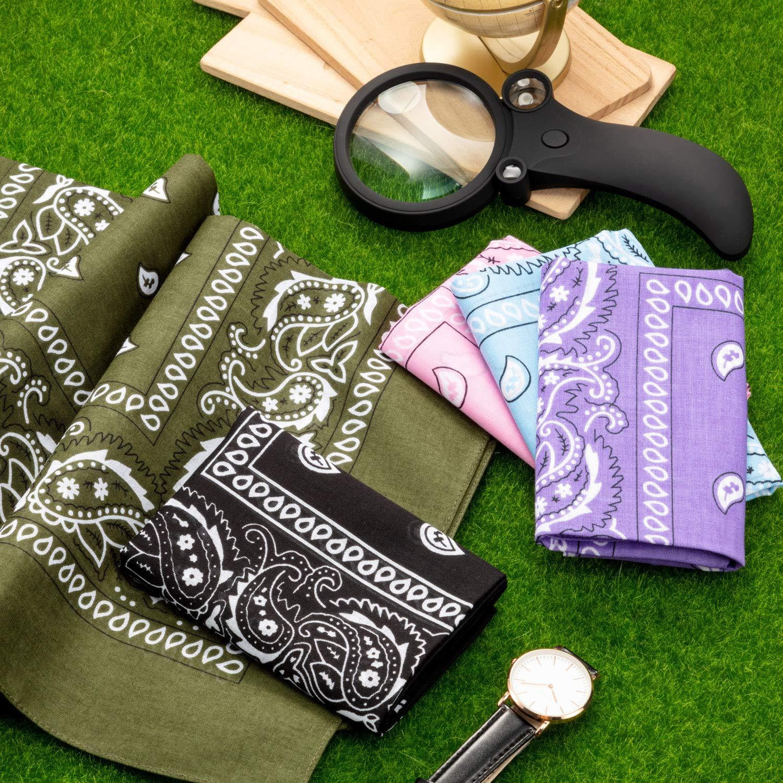 21 Pezzi Paisley Novit/à Bandane Cowboy Bandana Headwrap Double Sided Stampa Sciarpa Paisley per Uomo Donna Festa