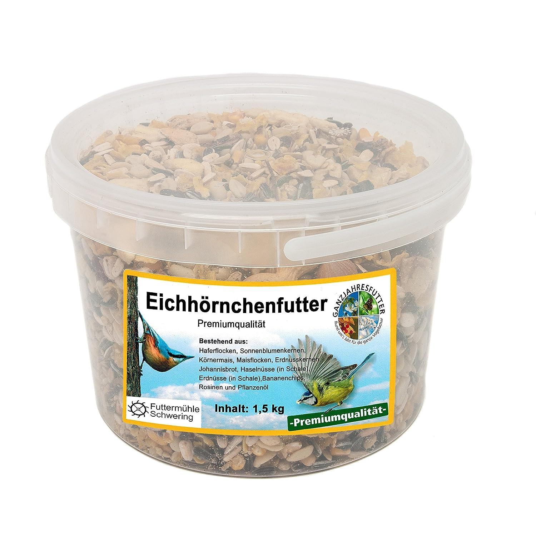 Eichhörnchen Nahrung, 1,5 kg Eimer Premium Eichhörnchen Futter Eichhörnchen Nahrung Schwering