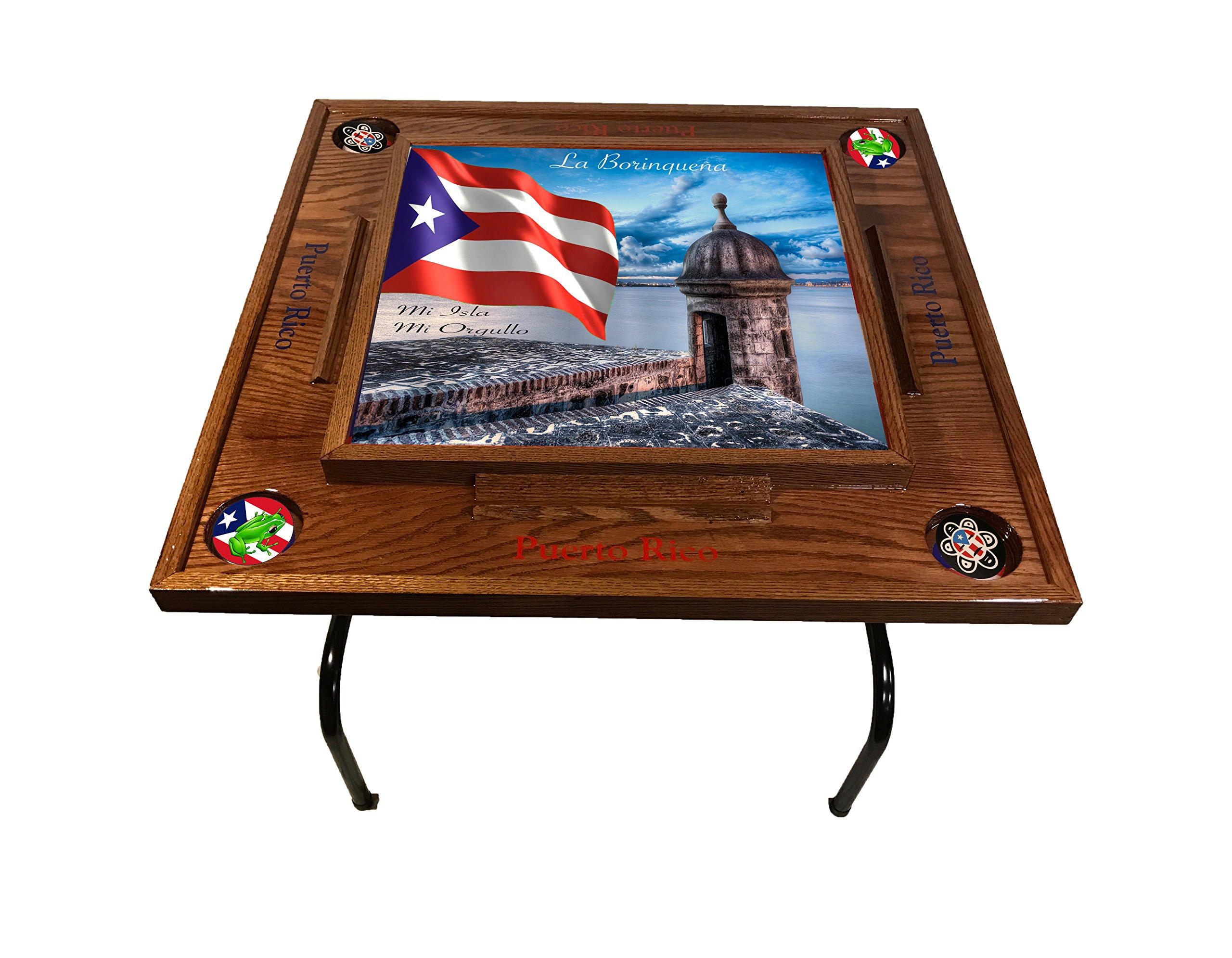latinos r us Puerto Rico Domino Table with The Morro (Dark Walnut)