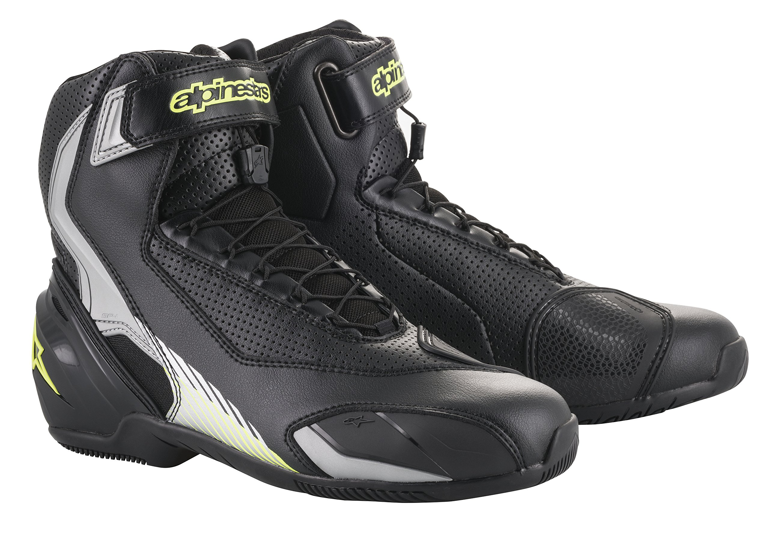 SP-1 v2 Vented Motorcycle Street Road Riding Shoe (41 EU, Black Silver Yellow)