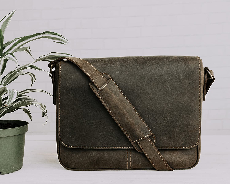Pegai Premium Distressed Leather Messenger Bag, Distressed Leather Bag, Brown Messenger Bag, Warren - Chestnut Brown