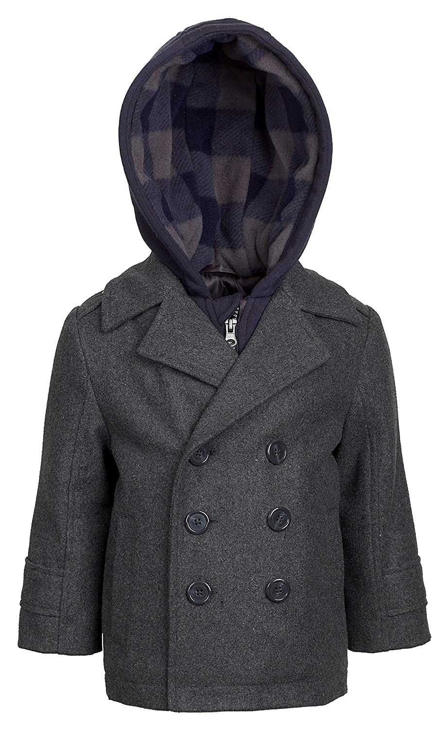 d2899f8dc6b8 London Fog Boys Double Breasted Wool Blend Hooded Winter Peacoat Jacket Coat