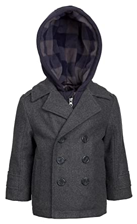 ceef5f7b05c7 Amazon.com  London Fog Boys Double Breasted Wool Blend Hooded Winter ...