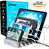 USB Charging Station & Multi USB Charger Stand 4 Port Organizer for Fast and Powerful charge Cell phones, Tablets, Mobile Devices - Smart, Rapid Charge Technology & Portable Home, Office