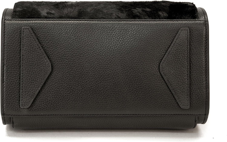 Raviani Black Pebble Grain /& Hair on Hide Genuine Leather Satchel