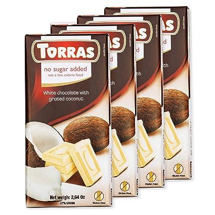 Torras - Barra de chocolate negro sin azúcar y sin gluten ...