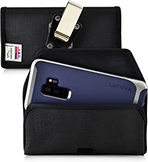 product image for Turtleback Holster Compatible with Galaxy S10+ Plus S9+ S8+ A30 A20 A50, Belt Clip Case, Black Nylon Pouch with Heavy Duty Rotating Belt Clip, Horizontal Made in USA