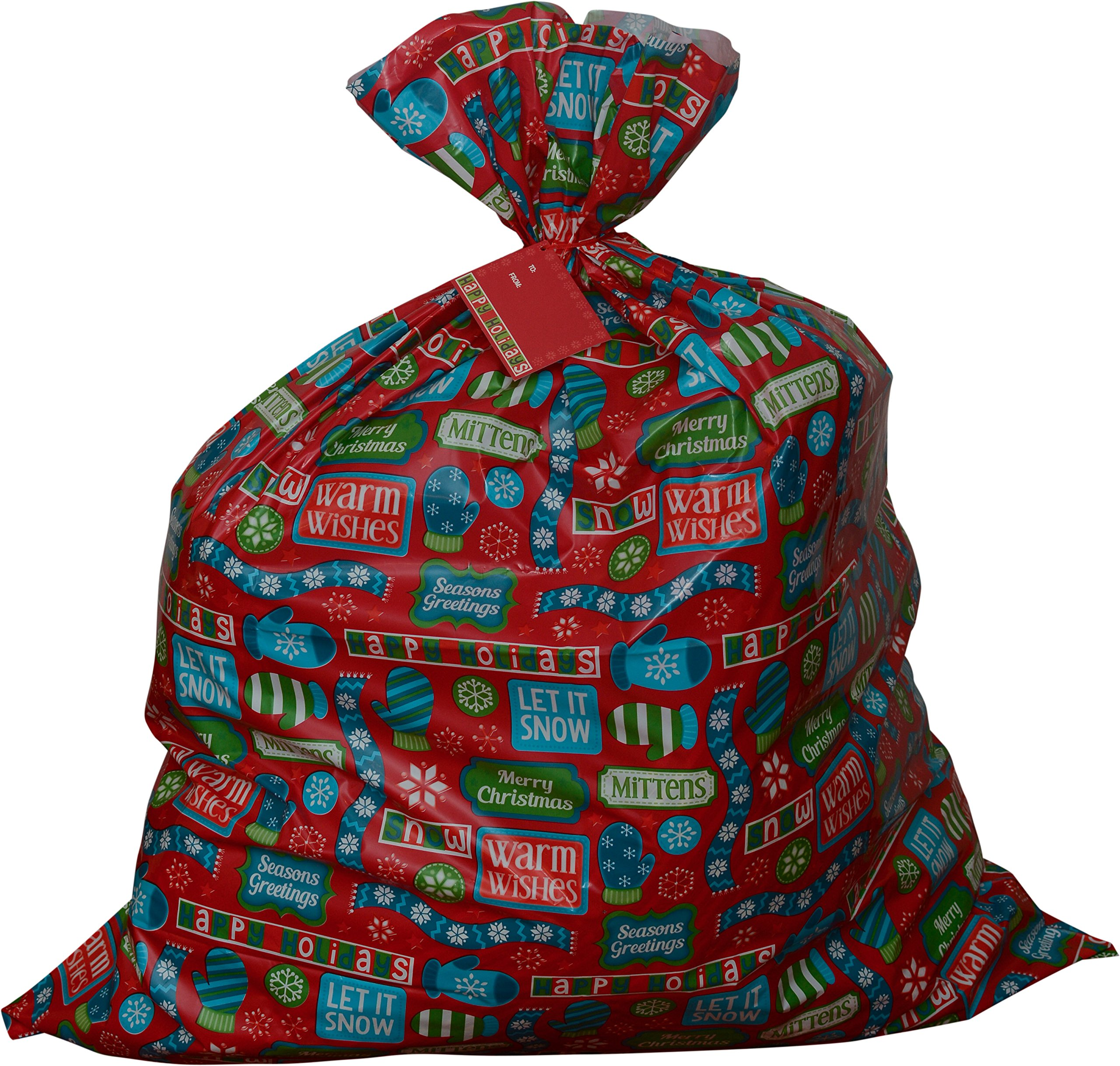 Jumbo gift bag for giant gifts; 36'' x 44'' Christmas prints; pack of 3 heavy duty bags