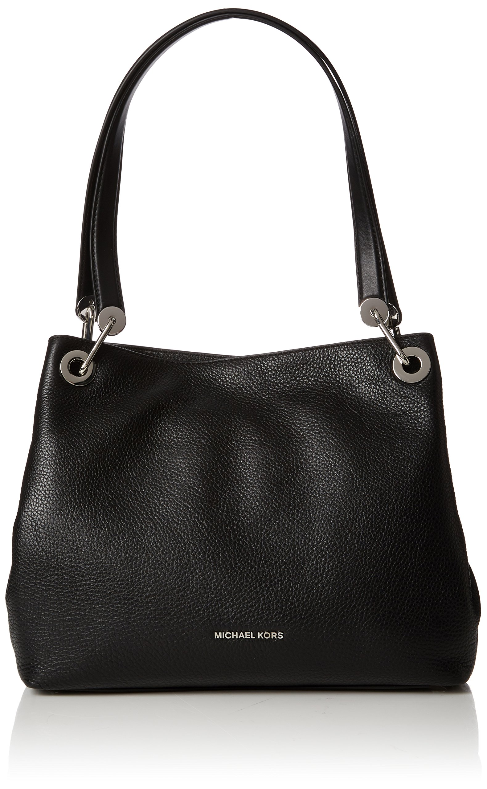 Michael Kors Raven Lg Shoulder Tote - Black, Silver Hardware