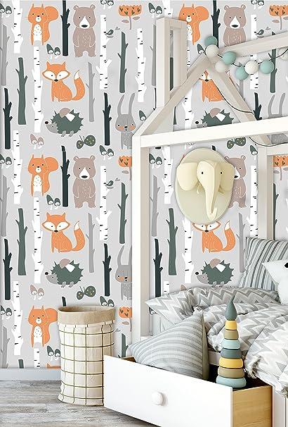 Removable Wallpaper Mural Peel Stick Nursery Room Fox Bear
