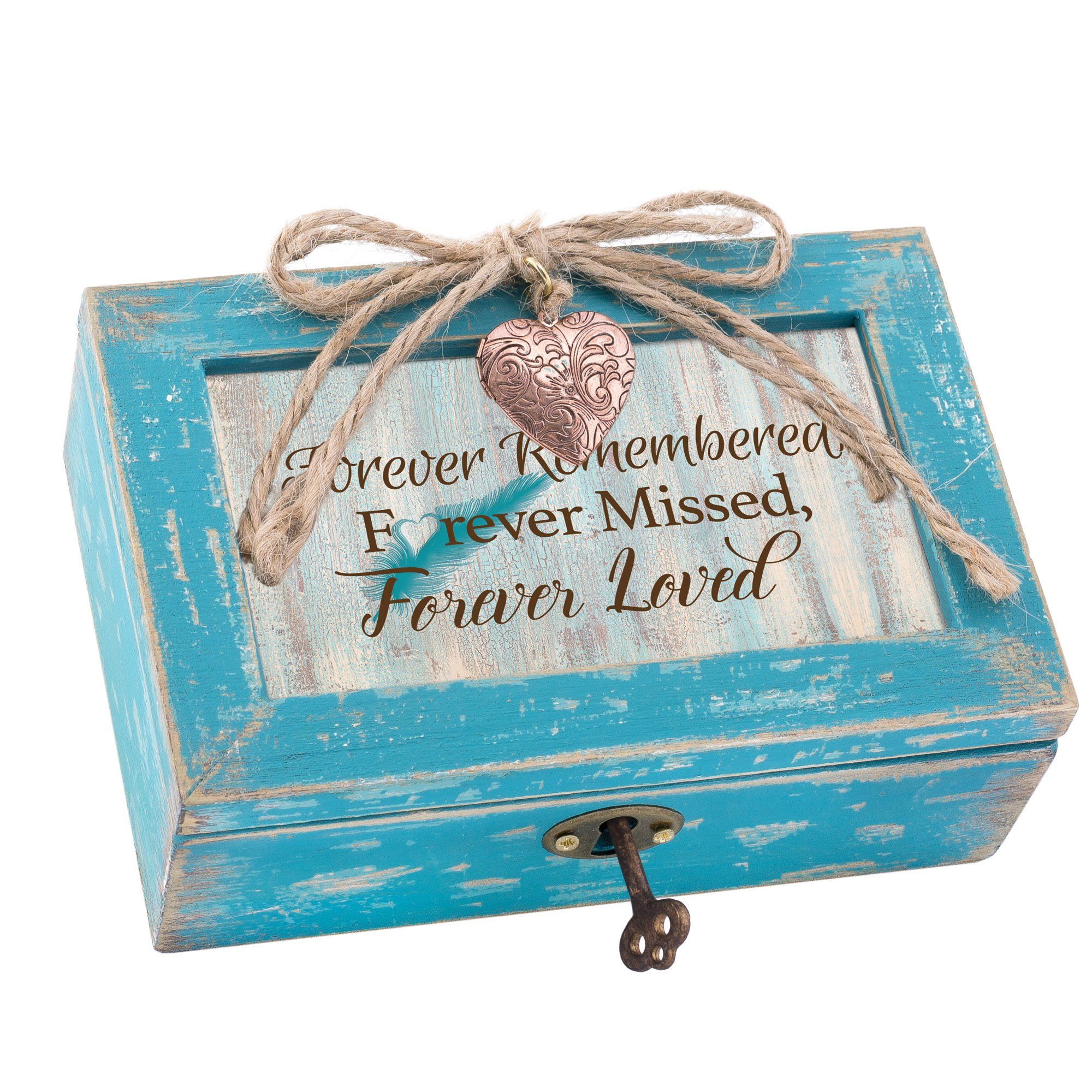 Cottage Garden Forever Missed Loved Teal Locket Petite Music Box Plays Wind Beneath My Wings
