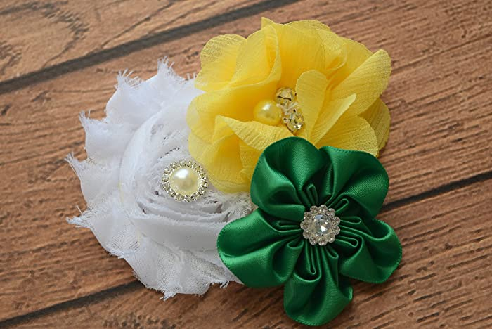Amazon flower hair clip green yellow and white sash 2 flower hair clip green yellow and white sash 2 flower clip hair mightylinksfo